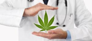Express Marijuana Card Doctor holding marijuana leaf