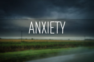 Image of gloomy skies with the word Anxiety for the Medical Marijuana & Anxiety Disorders ExpressMarijuanaCard.com page